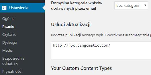 Usługa pingowania Wordpress
